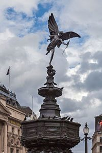 Shaftesbury Memorial Fountain, usually called the Eros who is at the top of the fountain