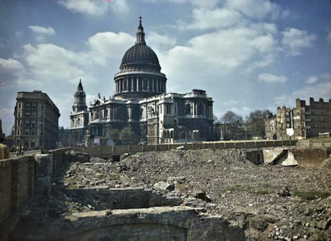 Home Front in Britain 1939-1945. Amazingly, this is almost the way I saw St Paul's Cathedral in 1955. The ruin of a house on the left was gone. There was rubble all the way to what is now the Barbizon