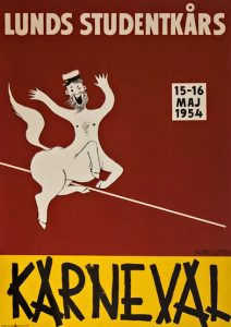 Poster for 'my' carnival in 1954 (Photo Lunds Studentkårs Karneval 1954 talkingbeautifulstuff.com