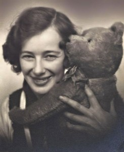 Mother in her 'atelier' with my teddy bear, called Nalle. Mother told me that when I first got Nalle he was bigger than I was. I would hold him by his head and his feet were dragging on the floor behind me. Nalle was yellow, much lighter-colored than he looks here.
