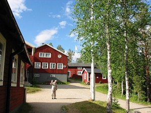 Kvikkjokk Tourist station the way it was in 2003. The little house we rented for a month in 1950 can be seen through the birches.