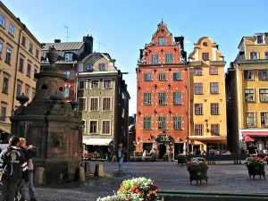 Gamla stan - the Old Town with its Hanseatic buidings -- and Stortorgsbrunnen, an old water fountain, actually a real old well.