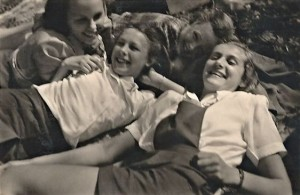 A school excursion in the summer; my close friends Britt (left) and Ragnhild (right). I am in the back and on the upper left is a girl whose name escapes me.