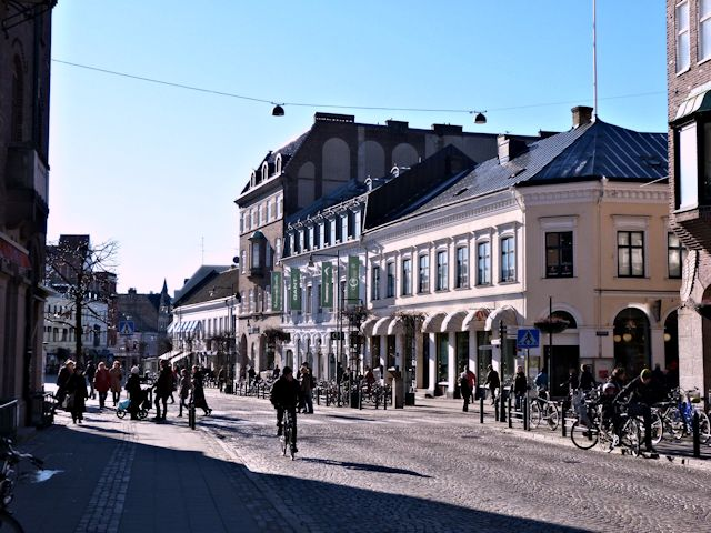 The main street in Lund which is virtually unchanged in the center since my student days, even though the wonderful university bookstore Gleerups, right front, looks a little fancier than it used to in my days.