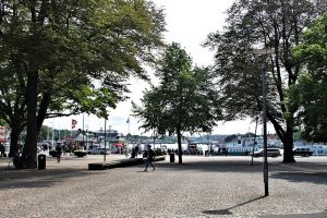 """Nybroviken, seen from the Royal Dramatic Theater -- lots of sightseeing boats leave from here on their various tours around """"the Venice of the North""""."""