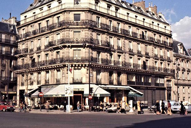 Le Café des deux magots on the corner of this huge old building. That's where Sartre and other so-called existentialist writers would spend hours daily writing their books while ordering one cup of coffee.