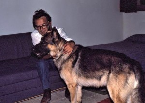 Roberto and our wonderful Puppy, our first dog, in our little fermette, la Fontaine.