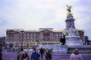 Buckingham Palace with Victoria Memorial in front on a cold winter day.