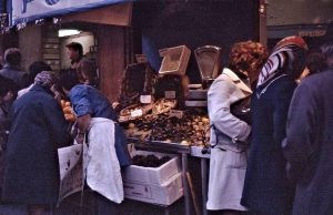Fishmonger in la rue de Seine in 1971, very close to la rue des Saints-Pères where John's studio was.