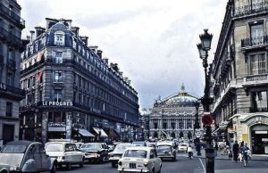 La rue Royale that goes from Place de la Concorde to l'Eglise de la Madeleine in its gigantic Greek style (in the background). Very old cars!