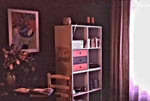 The other side of my room, a table for working, lilacs and Matisse on the wall