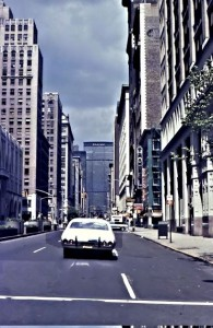 A very different picture of Park Avenue with older highrises (and an old car). The Pan Am building is at the end of the avenue and Grand Central Station is below this old highrise building. The mid-strip can barely be seen in this picture.