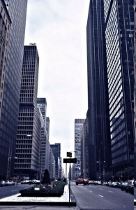 One view of Park Avenue, looking north, with very modern highrises.