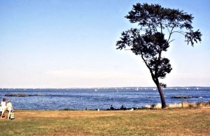 Long Island Sound seen from a park around the corner from Harbour House. Long Island can be vaguely seen in the distance, just where Great Gatsby takes place, i.e. in Great Neck and Little Neck.