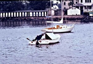 There was no room for Kijé at a dock so it was moored in the bay and I had to buy a dinghy to get to it.