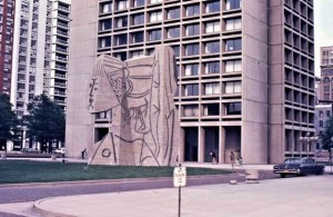 A statue by Picasso at 505 La Guardia Place.