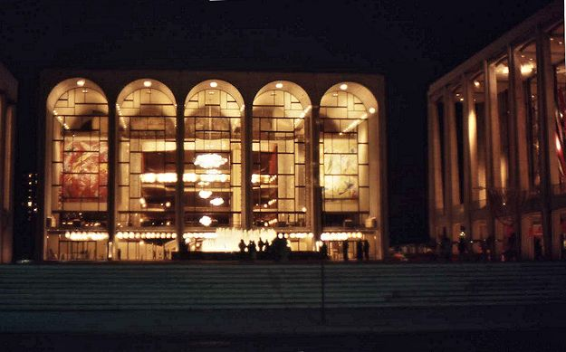 Lincoln Center by night -- the Metropoiltan Opera and the Philharmonic Hall on the right