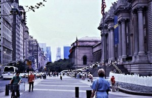 The entrance to the magnificent Metropolitan Museum of Art on 5th Avenue and at the edge of Central Park in the lower 80s. I will probably clone out Siv in the foreground.