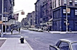 Greenwich Village and Bleecker Street with off-off Broadway theaters, above all 'The Circle in the Square' (center of picture) on the right, and Bleecker Street Cinema that carried old classics, a regular haunt for Allan and me.