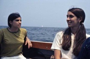 Nora and her friend Rita on the sailing trip to change marinas for Kijé.