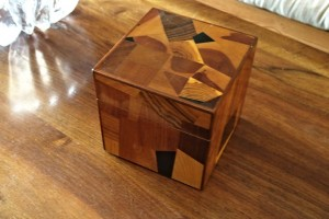 An inlaid box that Girv gave me eons ago. It's always on display in the living room.