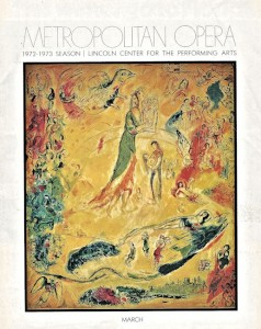 The cover of the program for Petrushka, the yellow Chagall painting which is on the right seen from the outside
