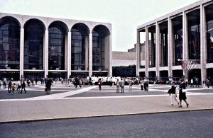 Lincoln Center; the Metropolitan Opera left and the New York Philharmonic Hall on the right; later called the Avery Fisher hall