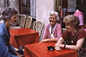 Pam and company on their second visit in 1985