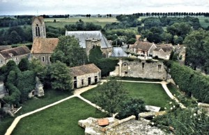 The village Blandy-les-Tours, a historic village, here seen from the château