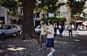 'La place' at the very entrance of Pérouges-- with friend Britt in 1990
